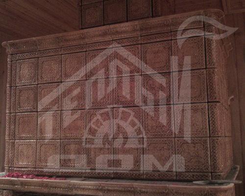 Камин, облицовка изразцами серии Русь бежевые (14)