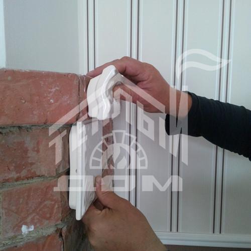 Облицовка камина изразцами серии Виньетка белые (6)