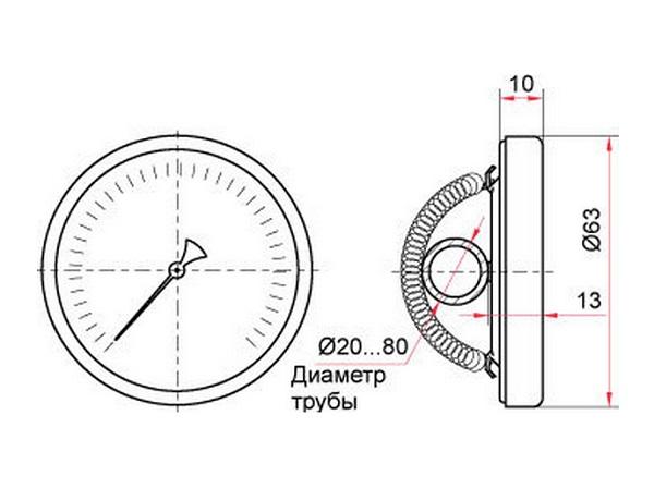 Термометр биметалический 0-150 градусов, для трубы диаметром 20-80мм