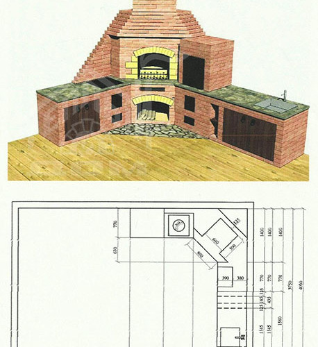 Эскиз Летней кухни с размерами-восстановлено