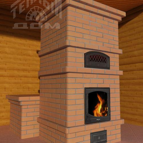 печь-камин с лежанкой и хлебной печкой
