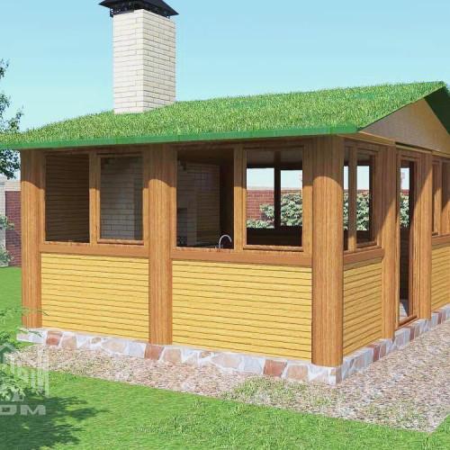 Беседка зимняя. Проект №6. С озеленением крыши