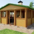 Беседка зимняя. Проект №6. С озеленением крыши.