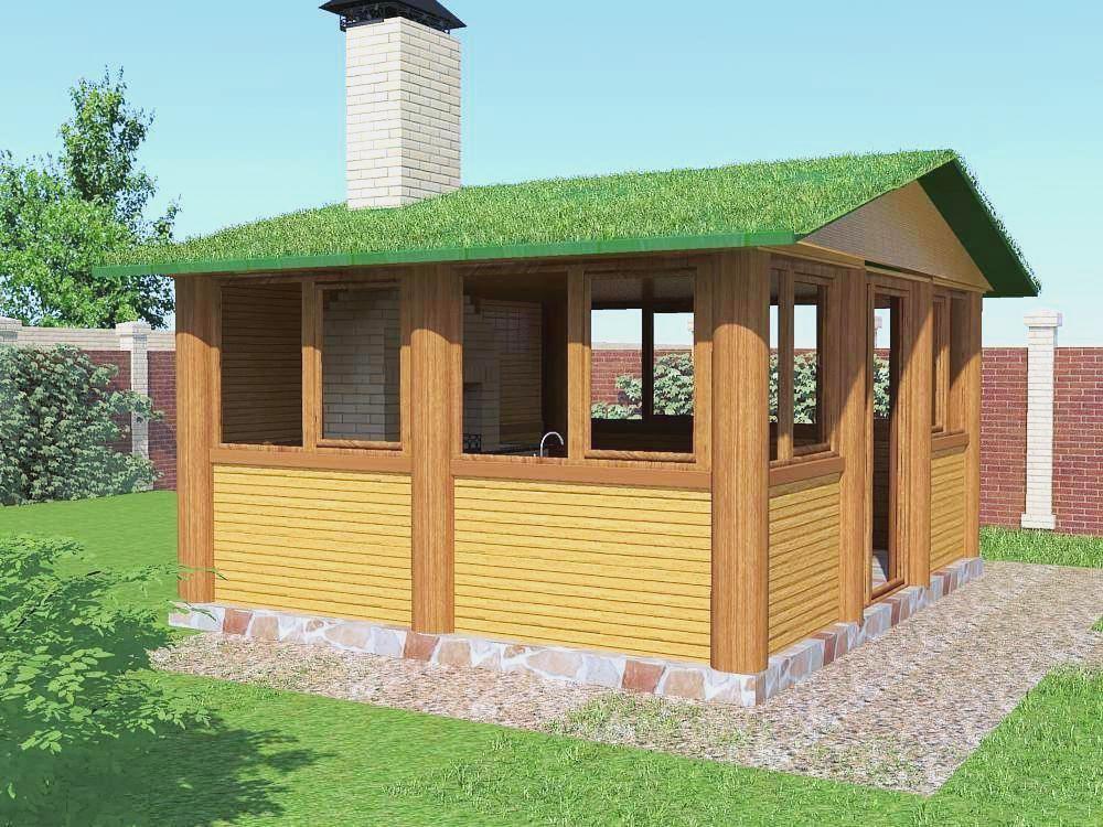 Беседка зимняя. Проект №6. С озеленением крыши. 2