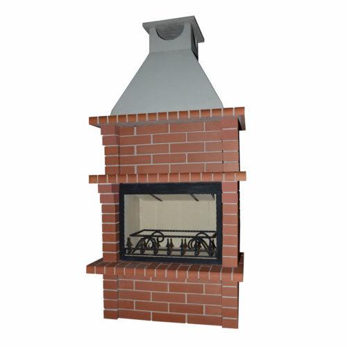 795 Камин отдельностоящий высокий с дымоходом с рамкой прямоуг кирпич